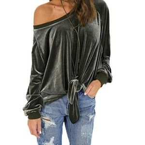 Velvet tie-front off-the-shoulder top